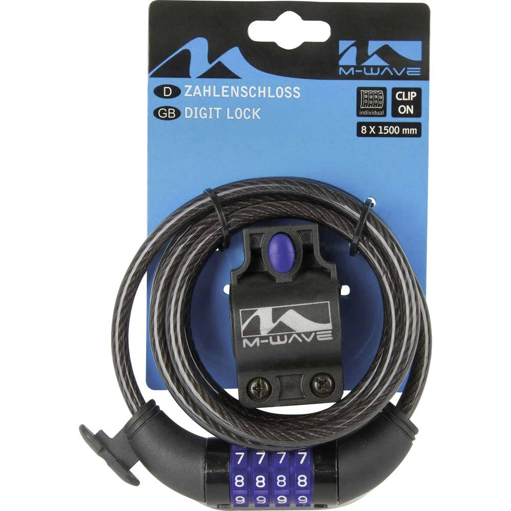Kabelski lokot M-Wave DS 8.15 Crna Zaključavanje s brojčanikom