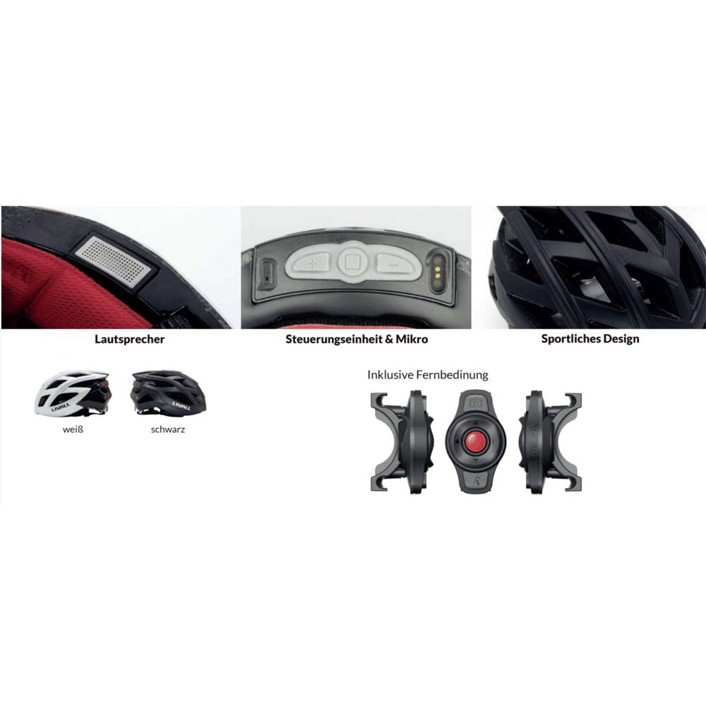 Cestovni bicikl kaciga Livall BH62 Crna Veličina odjeće=L Opseg glave=58-61...